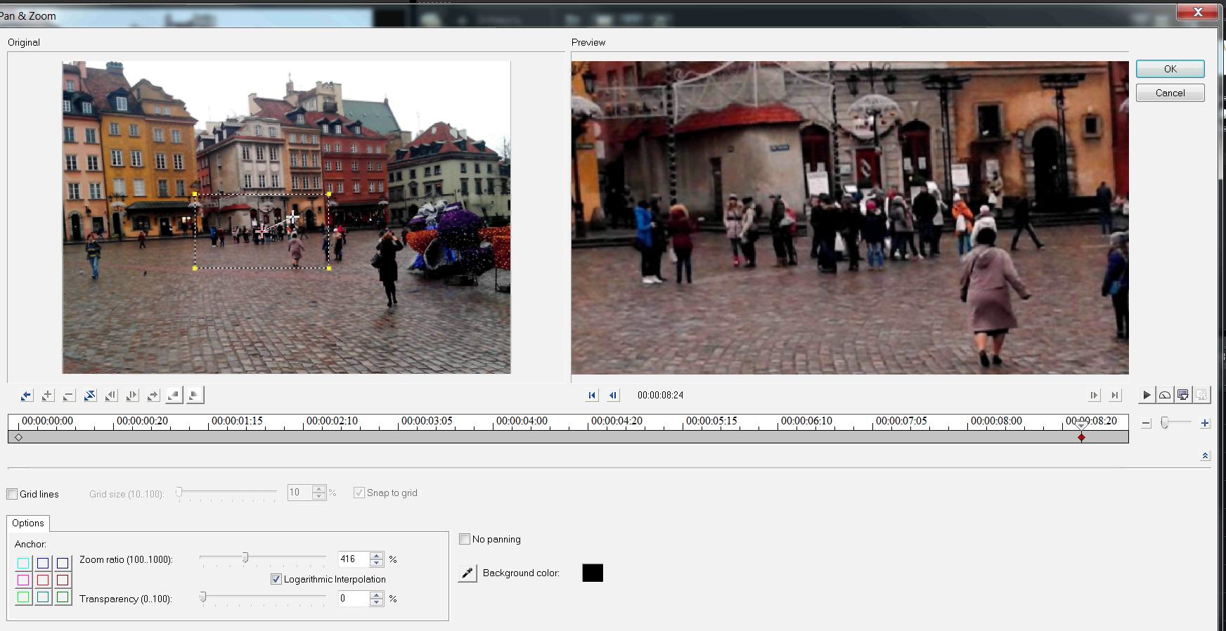 настройка Zoom кадра слайд-шоу из фотографий