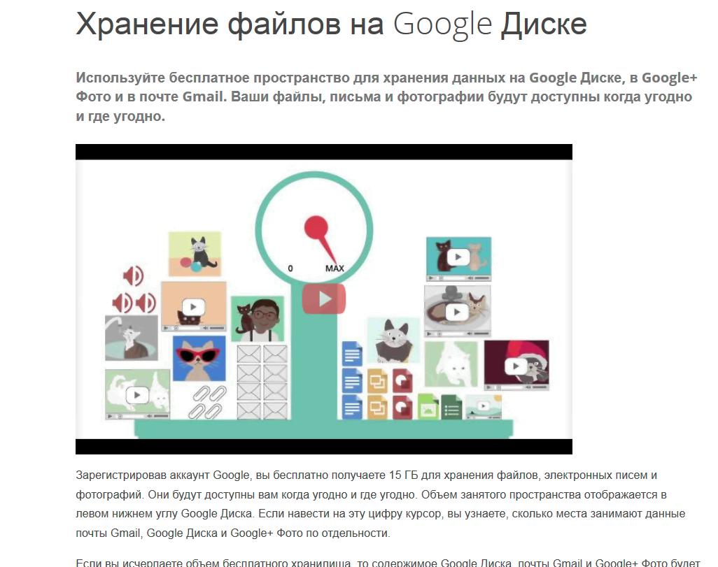 облако Гугл загрузка и хранение фотографий,видео,музыки